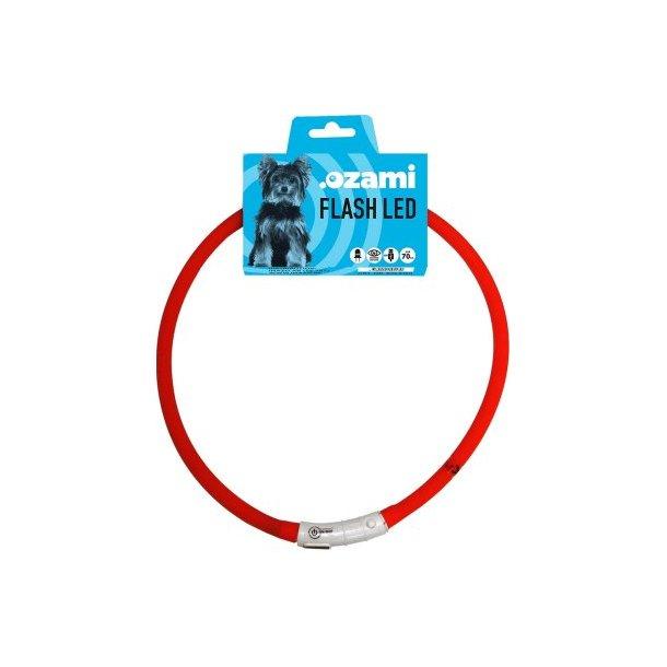 Flash LED halsbånd rødt 70cm