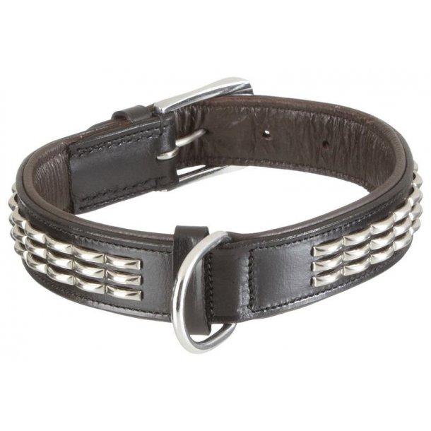 Nobby læderhalsbånd Maleco sort/brunt 65cm-34mm