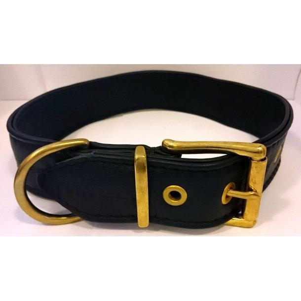 Timely 4-lags læderhalsbånd sort 70cm-40mm