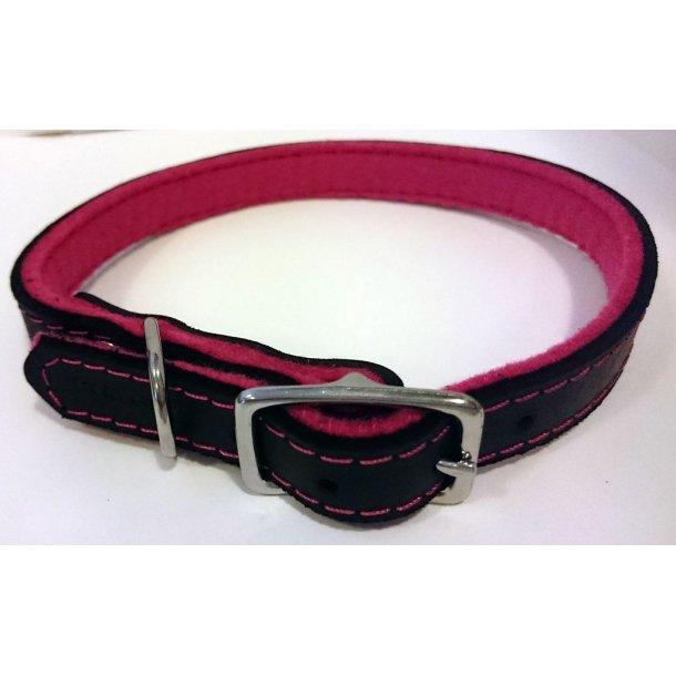 Timely economy læderhalsbånd sort/pink 25cm