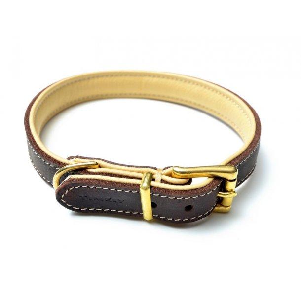 Timely læderhalsbånd brun/natur 40cm