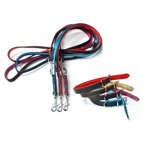 TIMELY dobbelt-lags læderhalsbånd og -liner