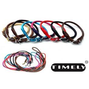 TIMELY rundsyede læderhalsbånd og liner