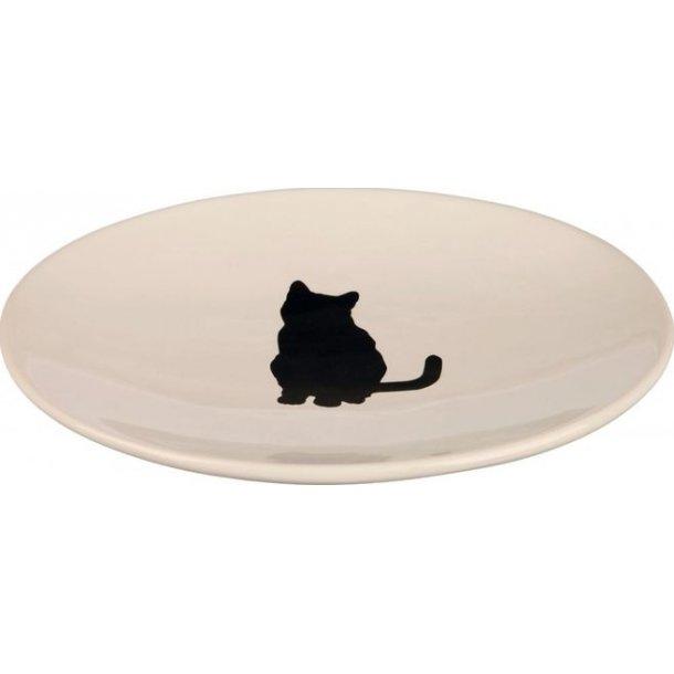 Keramikskål kat hvid 18×15cm